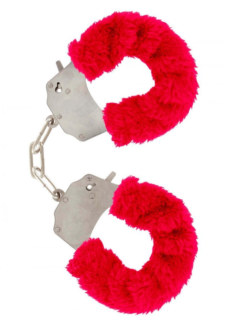 Manette in peluche color rosso,per giochi erotici