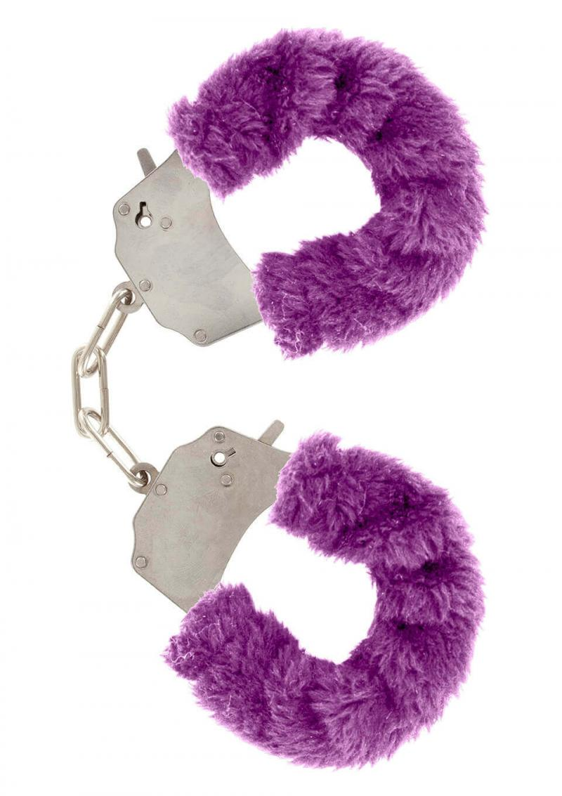 Manette in peluche color viola,per giochi erotici