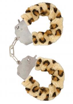 Manette in peluche color leopardo,per giochi erotici