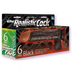"""Dildo Realistico REALISTIC COCK 6"""" BLACK"""
