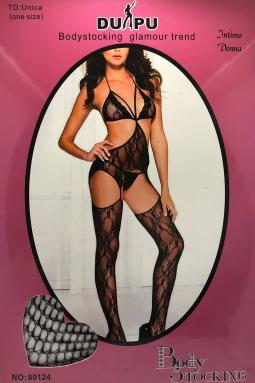 Bodystocking Nero semi aperto